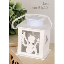 Lanterna legno angelo con luce LED. CM 8 H 10