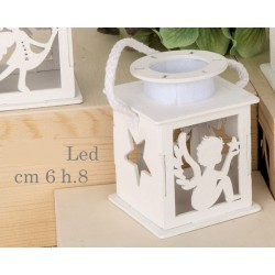 Lanterna legno angelo con luce LED. CM 6 H 8