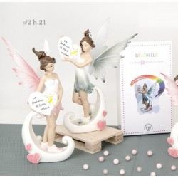 Fata resina con cuore scritta con scatola pvc decorata. Ass 2. H 21