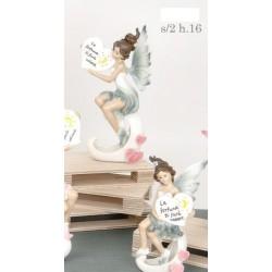 Fata resina con cuore scritta con scatola pvc decorata. Ass 2. H 16