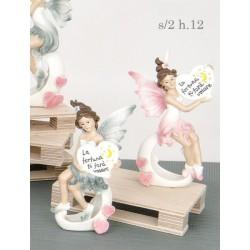 Fata resina con cuore scritta con scatola pvc decorata. Ass 2. H 12