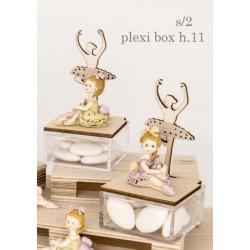 Ballerina resina con scatola plexi con dettagli legno. Ass 2. H 11