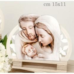 Sacra famiglia in resina, effetto pittura. Cm 15x11