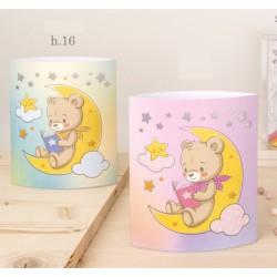 Lucina con orsetto in plastica, rosa o azzurra con scatola. H 16