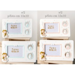 Portafoto resina con traforo laterale e angelo baby, rosa o azzurro. Ass 2 per colore. CM 15x10