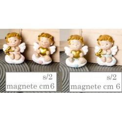 Angelo rosa o azzurro in resina con magnete. Ass 2 per colore. H 6