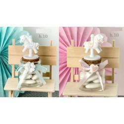 Barattolo vetro con cavallo in resina, rosa o azzurro. H 10