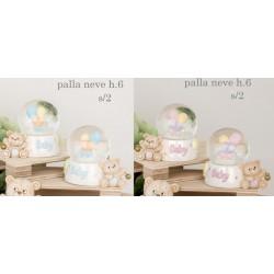 Bolla vetro neve con orso rosa o azzurro e campanellino. CM 6