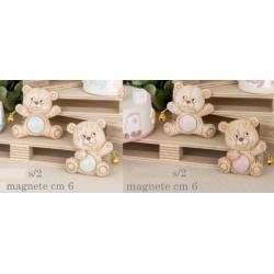 Orso resina con magnete, dettagli rosa o azzurri. CM 6