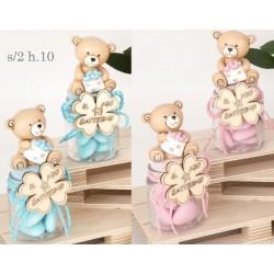 Barattolo vetro con orso baby in resina e dettagli legno. Ass 2 per colore. H 10