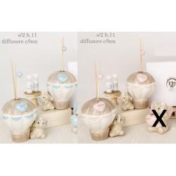 Profumatore mongolfiera in porcellana lucida con elefante baby e scatola. Ass 2 per colore. H 11