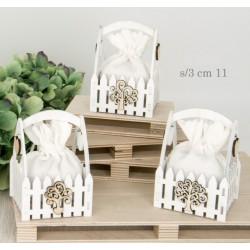 Cesto legno con manico con sacchetto interno. Ass 3. CM 11
