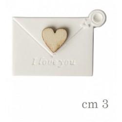 Gesso forma busta con dettaglio cuore legno. CM 3