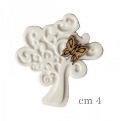Gesso forma albero con dettaglio farfalla legno. CM 4