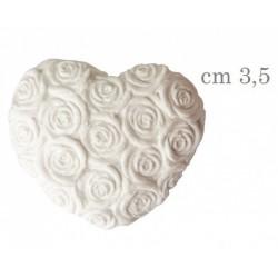 Gesso forma cuore con trama rose. CM 3,5