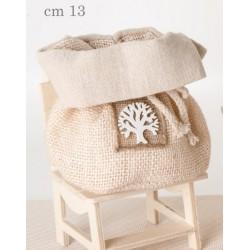 Sacchetto tessuto con applicazione albero. CM 13