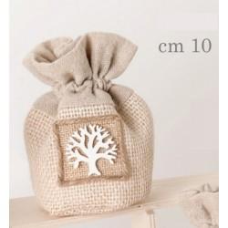 Sacchetto tessuto con applicazione albero.CM 10