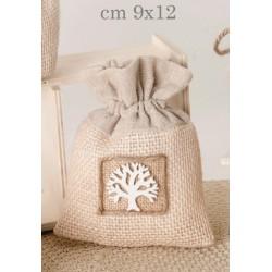 Sacchetto tessuto con applicazione albero.CM 9x12