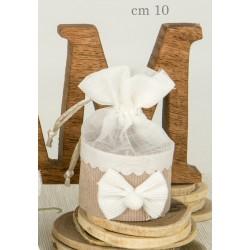 Sacchetto tessuto rigido con applicazione fiocco.CM 10