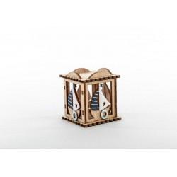 Scatola in legno con decorazioni marinare. CM 6x5 H 6