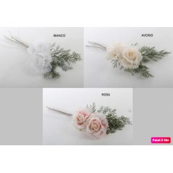 Tralcio coppia rose tessuto con foglie. CM 15x55