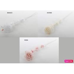 Rosa tessuto con stelo. CM 11x64