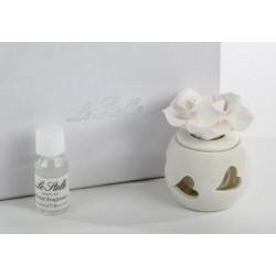 Profumatore porcellana con rose, completo di  essenza e scatola. CM 7x7 H 8
