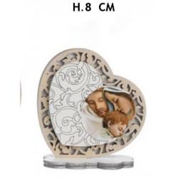 Cuore legno con Sacra Famiglia e traforo. H 8