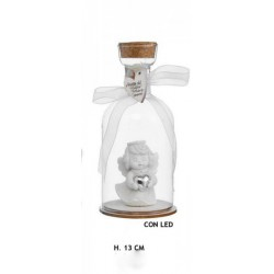 Bottiglia vetro con angelo resina e luce LED. H 15