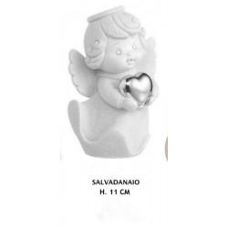 Angelo salvadanaio in resina con cuore silver. H 11