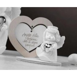 Angelo resina con base cuore legno. H 7