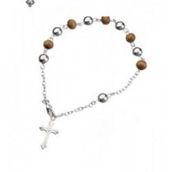 Bracciale rosario marrone.