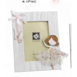 Portafoto in legno con ballerina vestito tulle e fiocco