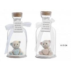 Bottiglia vetro con orsetto resina baby con luce LED. H 15