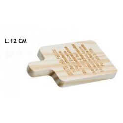 Tagliere legno con scritte. CM 12