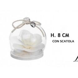 Ampolla vetro con rosa legno e scatola. H 8