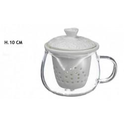 Tazza ceramica con filtro e decoro cuori. H 10