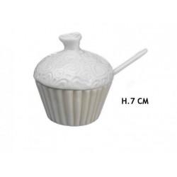 Zuccheriera ceramica forma cupcake con decoro cuori. H 7