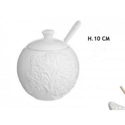 Zuccheriera ceramica con decoro albero. H 10