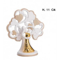 Coppia sposi ceramica con albero e dettagli oro. H 11