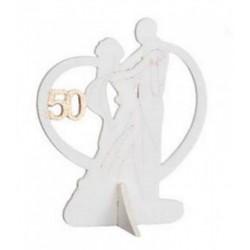 Coppia sposi in legno con dettaglio 50˚. CM 8