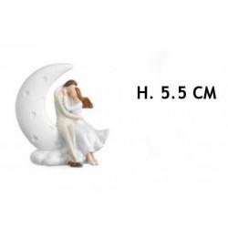 Coppia resina su mezza luna. H 5,5