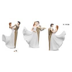 Coppia sposi in resina ballerini. Ass 3. H 14