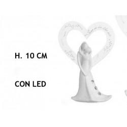Coppia resina con cuore plexi e luce LED. H 10