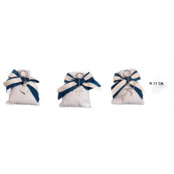 Sacchetto tessuto con portachiavi marinari. Ass 3. H 11