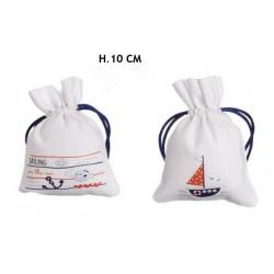 Sacchetti tessuto con disegni marinari. Ass 2. H 10