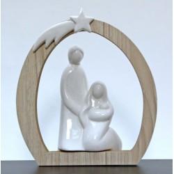 Sacra Famiglia ceramica con arco legno. CM 16.5