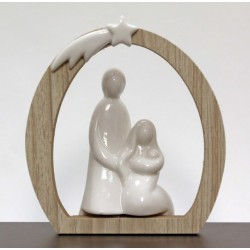 Sacra Famiglia ceramica con arco legno. CM 12