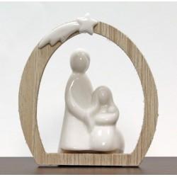 Sacra Famiglia ceramica con arco legno. CM 9