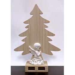 Albero legno con angelo ceramica bianca. H 34